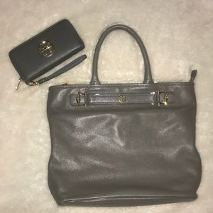 Tory Burch Gray Tote And Matching Wallet